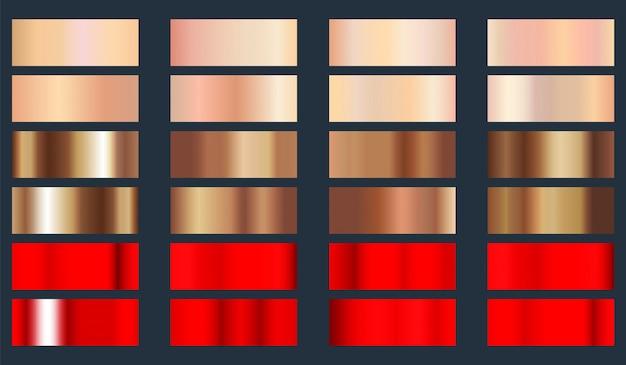 Goldrose, bronze und rote metallische folienbeschaffenheitssatz.