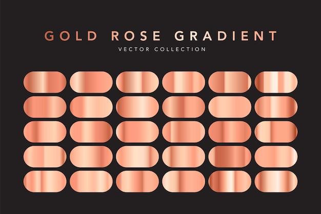 Goldrosenfolien-textur-set isoliert auf schwarz