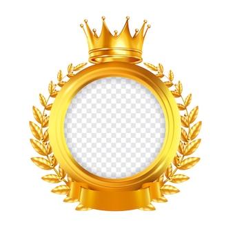 Goldrunder rahmen verziert mit lorbeerkranzband und krone realistischer designkonzept-clipping-pfad