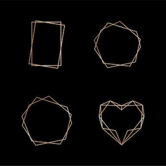 Goldsammlung des dekorativen elements des geometrischen rahmens für karteneinladungs-art-deco-stil für ...
