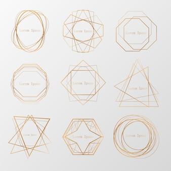 Goldsammlung des geometrischen polyeders, art- decoart für hochzeitseinladung, luxusschablonen, dekorative muster,… moderne abstrakte elemente, vektorsammlung