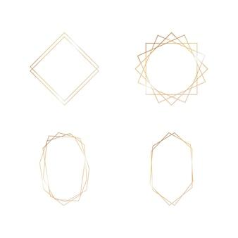 Goldsammlung des geometrischen rahmens auf weißem hintergrund. dekoratives element für logo, karte, einladung. luxusvorlagen, art-deco-stil für hochzeitseinladung.
