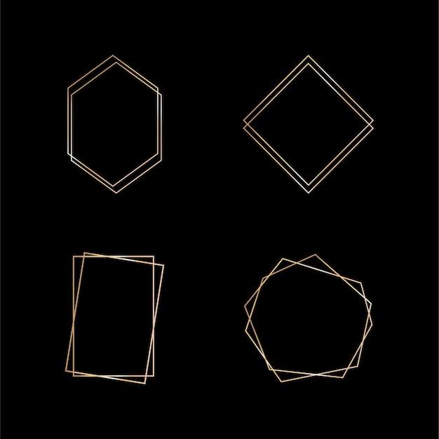 Goldsammlung des geometrischen rahmens. dekoratives element für karte, einladung. art-deco-stil für hochzeitseinladung.