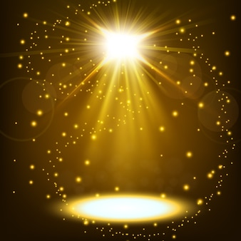 Goldscheinwerfer, der mit dem glattstreuen schwimmt