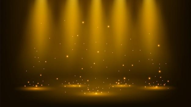 Goldscheinwerfer, die mit scheinen glänzen