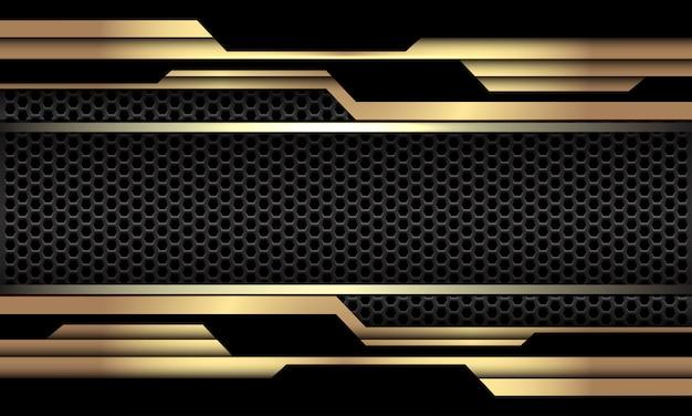 Goldschwarze geometrische schaltung cyber dunkelgrau sechseck mesh luxus futuristischen technologie hintergrund.