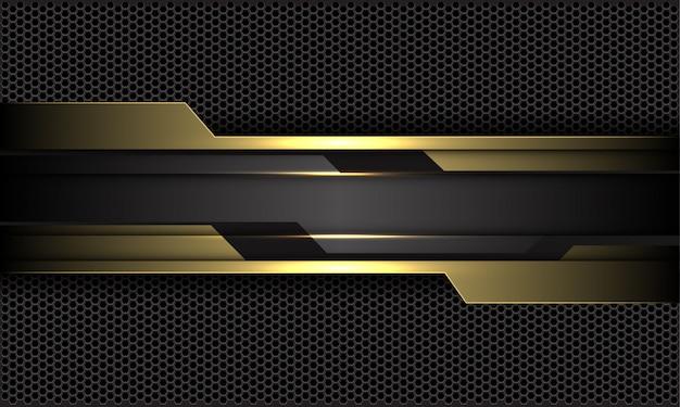 Goldschwarzer stromkreis auf futuristischem technologiehintergrund des dunkelgrauen sechsecknetzes.