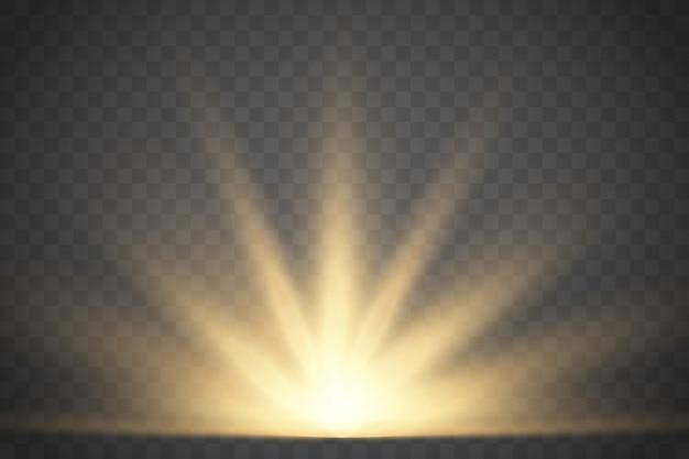 Goldsonnenschein mit strahlen und lichtstrahlen. vektor warmen lichteffekt