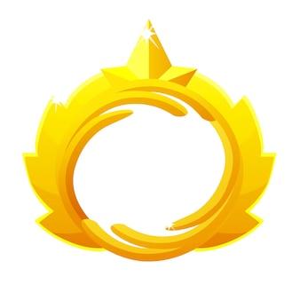Goldspielavatar, luxuriöser runder rahmen mit kronenvorlage für das spiel. goldener leerer leerer rahmen der vektorillustration für grafikdesign.
