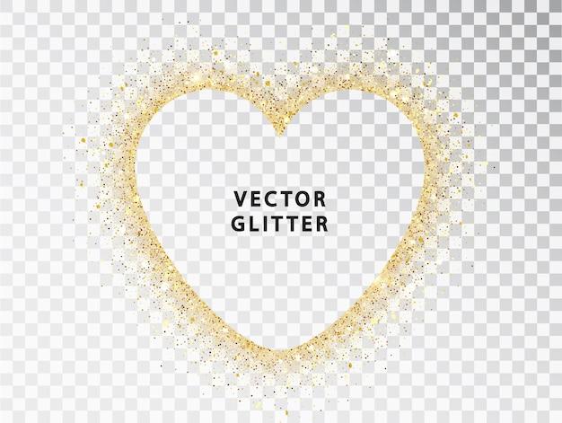 Goldstaub mit funkeln in herzform mit platz für eine inschrift auf transparentem hintergrund. happy valentinstag kartenvorlage. vektor-illustration. glänzende vorlage für den urlaub.