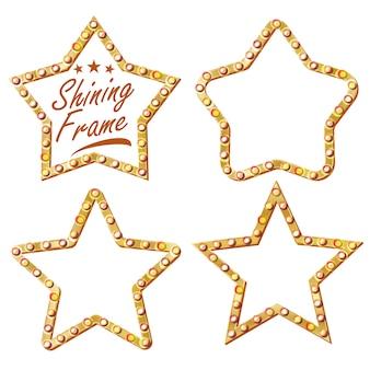 Goldstern-gesetzter vektor. vintage shine lamp star frame. 3d leuchtende plakatwand. vintage beleuchtete neonlicht. karneval, zirkus, kasinoart. getrennte abbildung