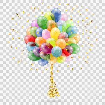 Goldstreamer und goldenes konfetti, verdrehte bänder, ballons. geburtstag, karneval, weihnachten, party, neujahrsdekoration. isolierte vektorillustration auf transparentem hintergrund