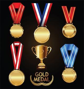 Goldtrophäe und -medaille mit lorbeerkranzvektorsammlung