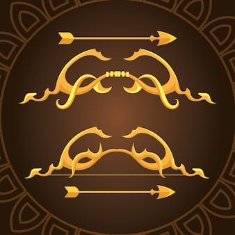 Goldverzierungsbögen mit pfeilen auf braunem hintergrundentwurf des waffenbogenschießamors und des weinlesethemas