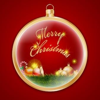 Goldweihnachtsglatte kugel auf rotem hintergrund