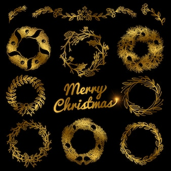 Goldweihnachtshand gezeichnete kränze, grenzrahmen