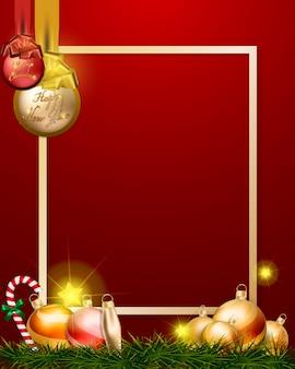 Goldweihnachtskugeln und -dekorationen auf goldenem rahmen
