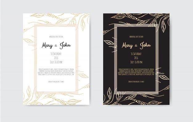 Goldweinlesegrußkarte auf schwarzem