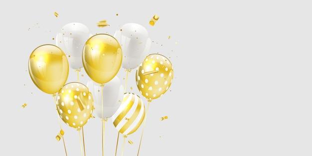 Goldweiße luftballons