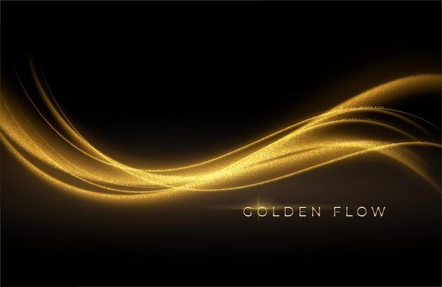 Goldwellenfluss und goldener glitzer auf schwarzem hintergrund.