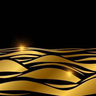 Goldwellenhintergrundschablone mit glanzeffekt