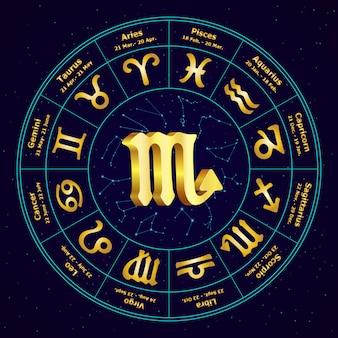 Goldzeichen des tierkreis-skorpions im kreis