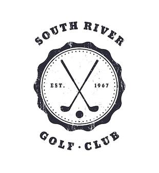 Golf club grunge vintage emblem, vektor-illustration