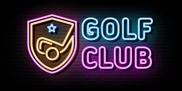 Golf club neon signs vector design template neon style