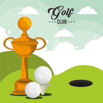 Golf club trophäe bälle und feld loch