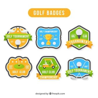 Golf-etiketten und abzeichen sammlung in flachen stil