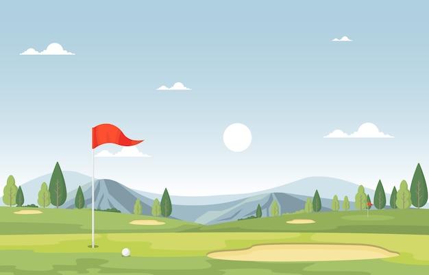 Golf field flag green grass tree outdoor-sportlandschaft