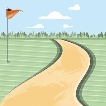 Golf fluch mit wegeszene