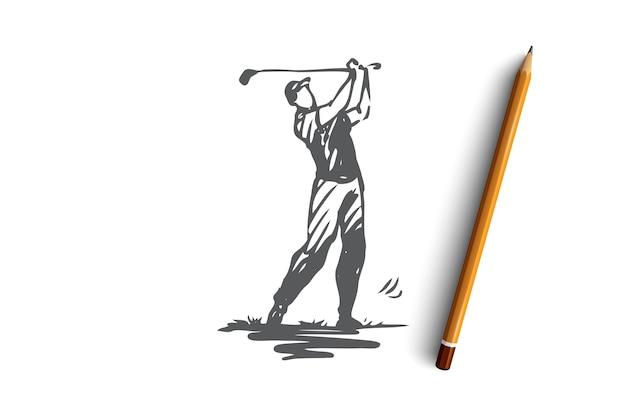 Golf, golf, spiel, spiel, ausstattungskonzept. hand gezeichneter golfspieler mit professioneller ausrüstungskonzeptskizze. illustration.