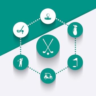Golf, golfclub, golfauto, golfspieler, runde symbole, vektor