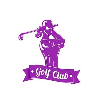 Golf-logo mit mädchen-schaukelschläger