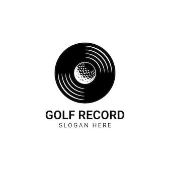 Golf-logo-schallball mit vinyl-scheiben-logo-design