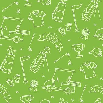 Golf nahtlose muster - club, ball, flagge, tasche und golfwagen im doodle-stil. handgemalt