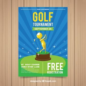 Golf poster vorlage mit goldenen trophäe