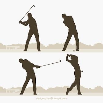 Golf schwingt ansammlung mit schattenbild in der flachen art