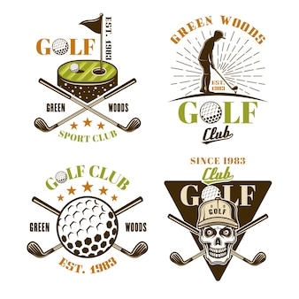 Golf-set von vektorfarbenen emblemen, abzeichen, etiketten oder logos im vintage-stil isoliert auf weißem hintergrund