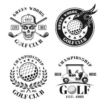 Golf-set von vier vektorisolierten emblemen, abzeichen, etiketten oder logos im retro-stil