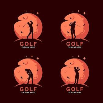 Golf-silhouette-logo auf dem mond mit schmetterling