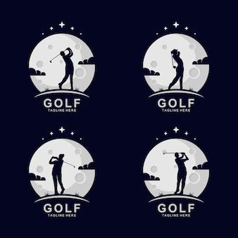 Golf-silhouette-logo auf dem mond mit sternen