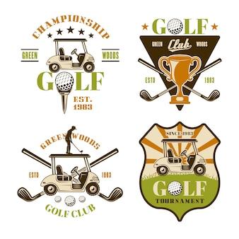 Golf- und golfset von vektoremblemen, abzeichen, etiketten oder logos. vintage farbige illustration isoliert auf weißem hintergrund