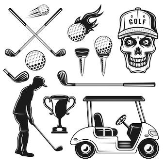 Golfattribute und ausrüstungsvektorobjekte oder designelemente im monochromen vintage-stil isoliert auf weißem hintergrund