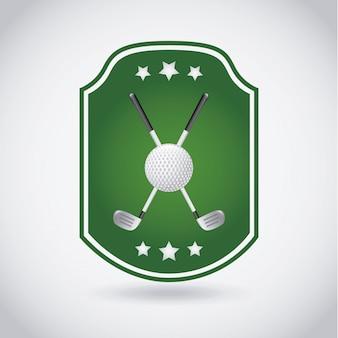 Golfaufkleber über grauer hintergrundvektorillustration