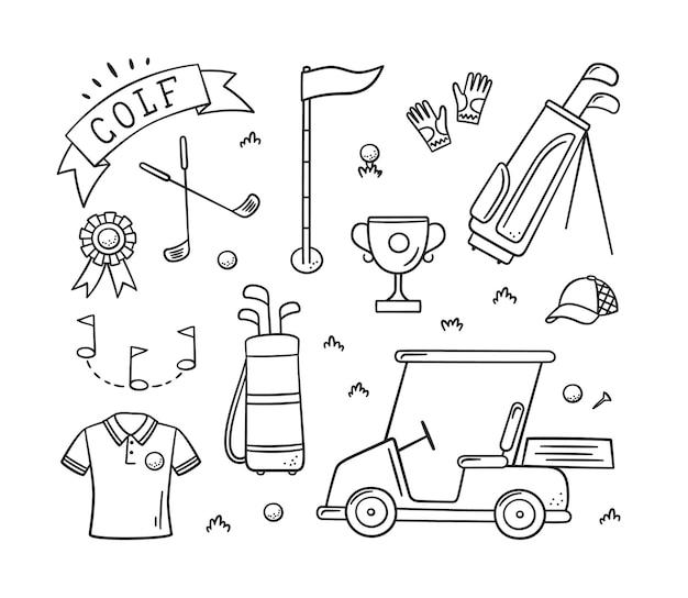 Golfausrüstung - schläger, ball, flagge, tasche und golfwagen im doodle-stil. golfbekleidung. handgemalt.