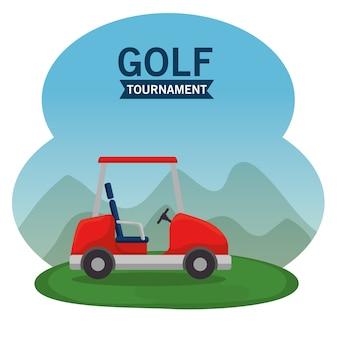 Golfauto auf einem golfplatz