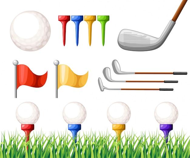 Golfbälle auf verschiedenfarbigem t-stück und verschiedene golfschlägergrüngras-golfplatzillustration auf weißer hintergrundwebseite und mobiler app