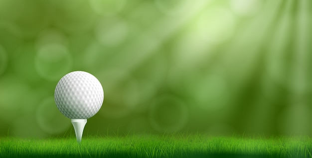 Golfball auf realistischer vektorillustration des t-stücks